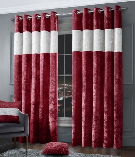 Stylish Diamante Crushed Velvet Modern Textured Ringtop Eyelet Pair Of Curtains Raspberry Colour